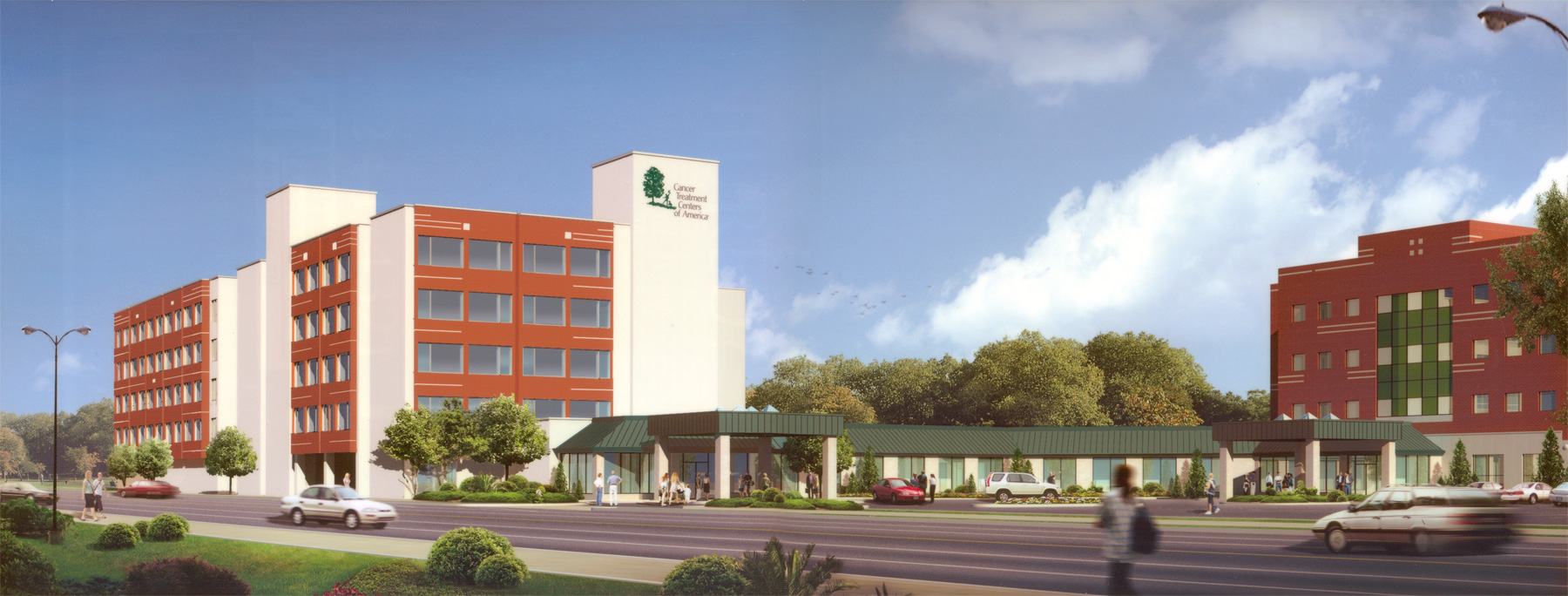 Final rendering of CTCA-Philadelphia facade graphics